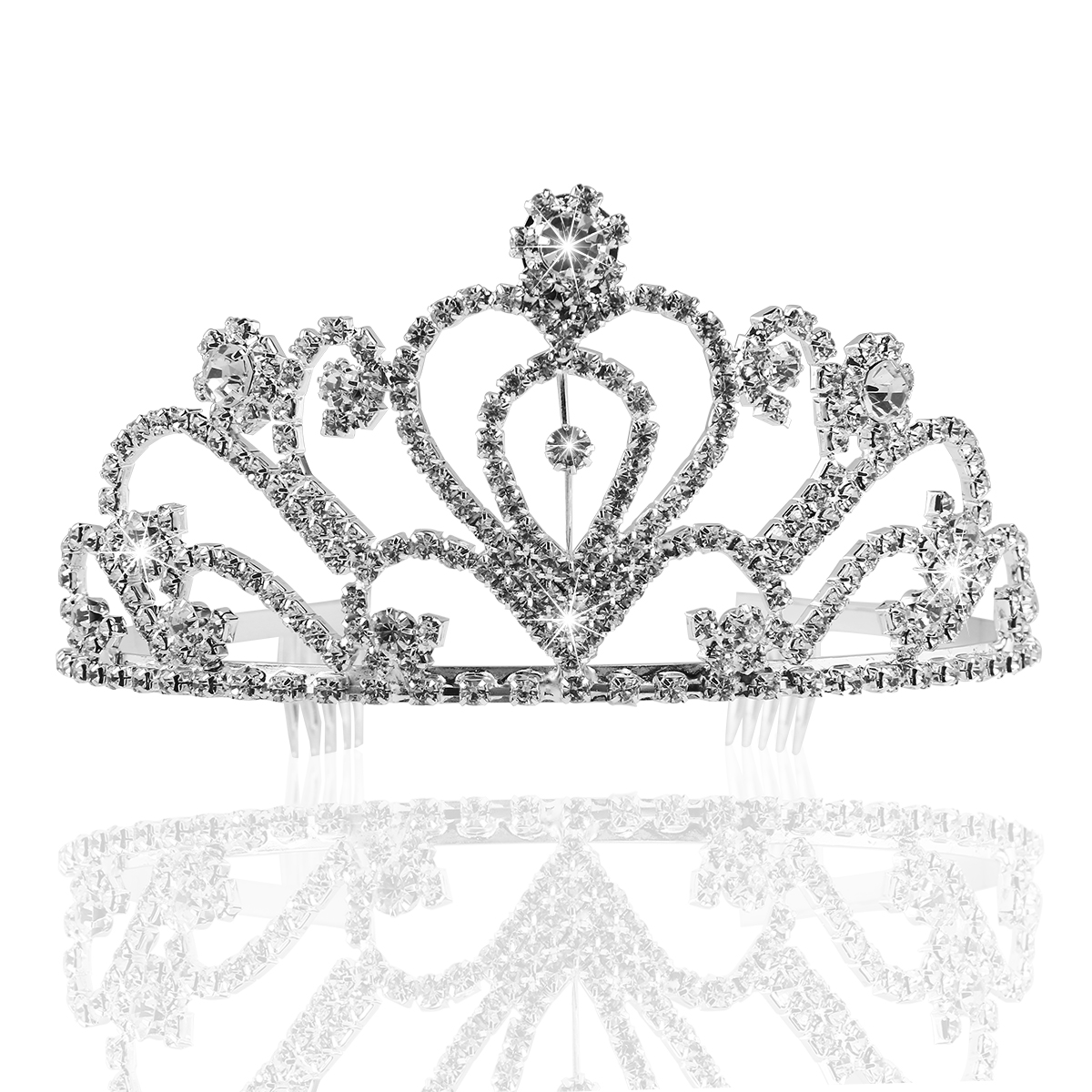 PIXNOR Bride Crown Wedding Rhinestone Decorated Hair Barrettes Hairband Clip Loop