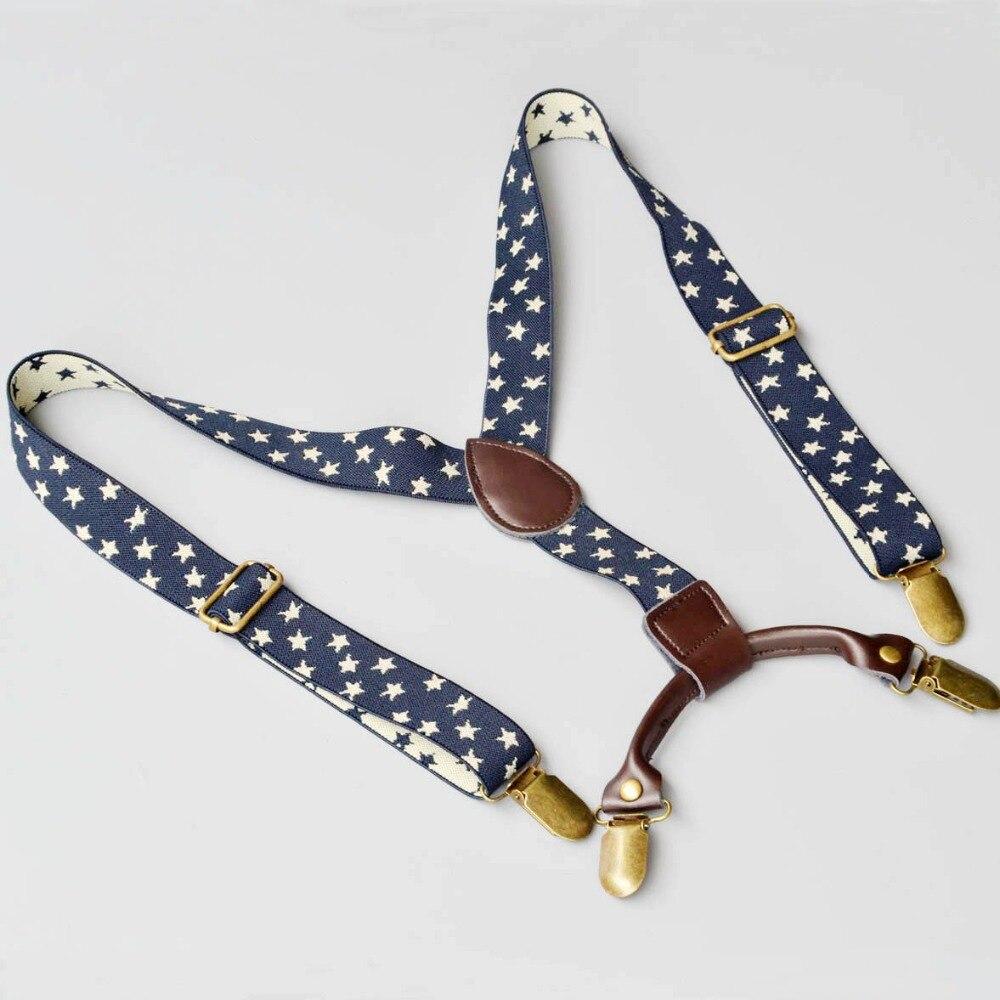 2.5 см качество чулок для детей темно-синие жаккард звезды брекеты малышей Эластичные подтяжки с натуральная кожа вкладки унисекс ...