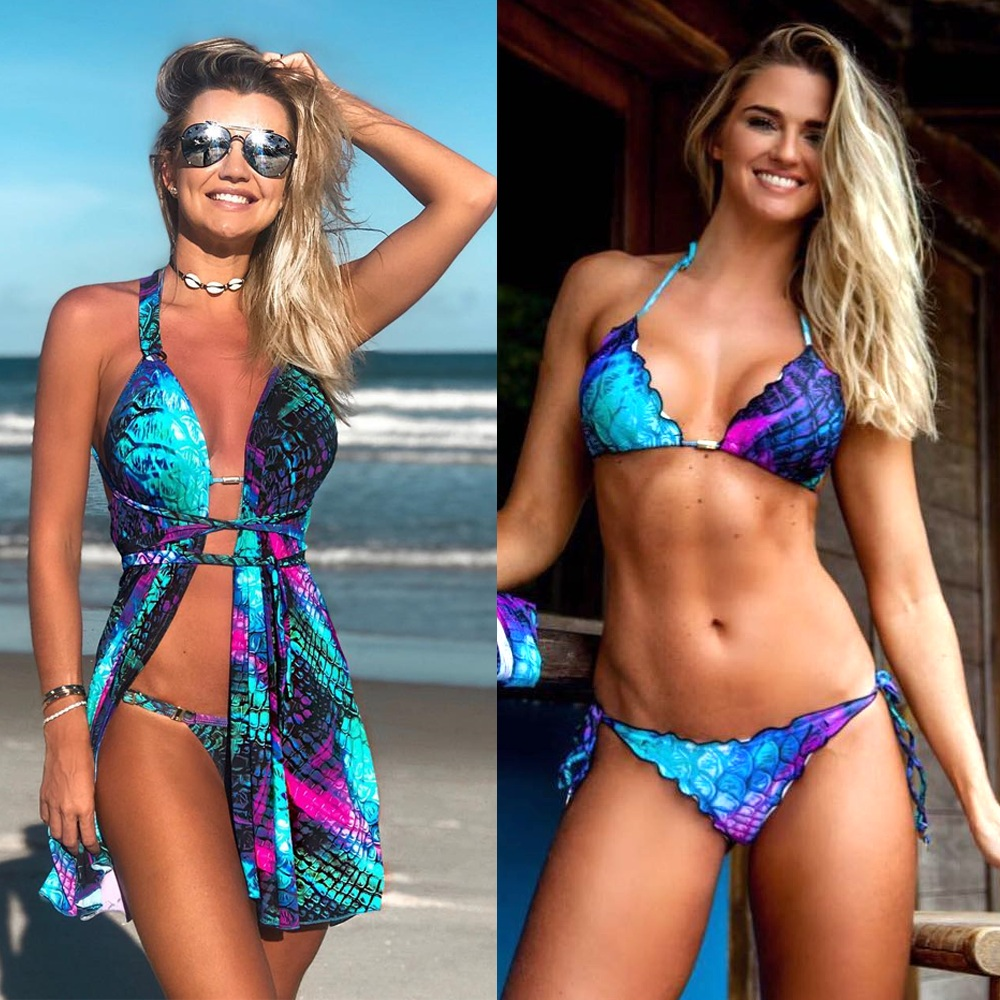 Women Swimsuit With Three Piece Sets Gradient Fish Scale Mermaid Print Hanging Neck Strap Bikini Suit Female Sexy Beach Elegant
