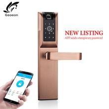 Geoeon biometric fingerprint lock APP, password, IC card, key unlock, door lock electronic hotel security anti-theft A89 цена