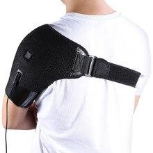 Yosoo USB Charge podgrzewana orteza na ramię regulowana neoprenowa pojedyncza podpórka na ramię gorąca terapia zimnem Wrap Pad Back Guard