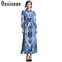 Runway Designer Dresses Women High Quality Vintage Print Casual Maxi Dress 2018 European Fashion Luxury Vestidos