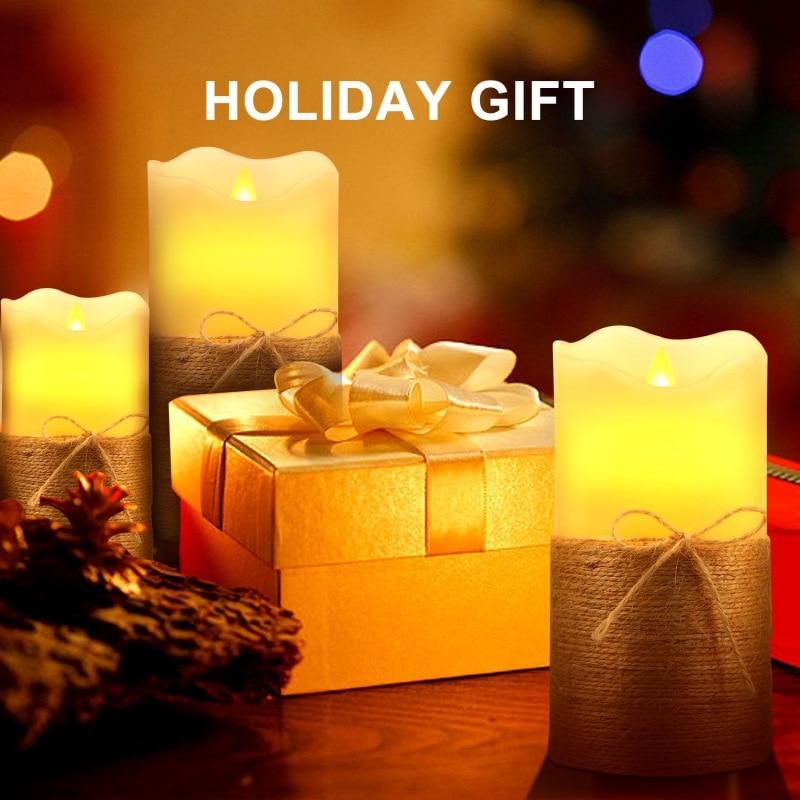3 pièces Sans Flamme Bougies bougies LED Bougies À Piles avec la Corde De Chanvre Décoration pour Cadeau Scintillement Se Déplaçant Sans Flamme Bougies
