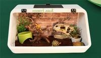 1 piece plastic reptile box turtle tank feeding box pet box turtle habitat reptile house amphibious white black gray green