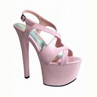 17 cm high heels Ultra slim with thick bottom crystal sandals Pictures show the shoes wholesale fashion women's sandals