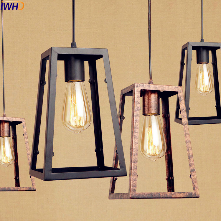 IWHD Metal Cage Edison Pendant Light Fxitures Dinning Room Style Loft Industrial Vintage Lamp Hanglamp Home Indoor Lighting edison retro vintage lamp loft industrial pendant light fxitures dinning room water pipe lighting lamparas 5 color lampshade