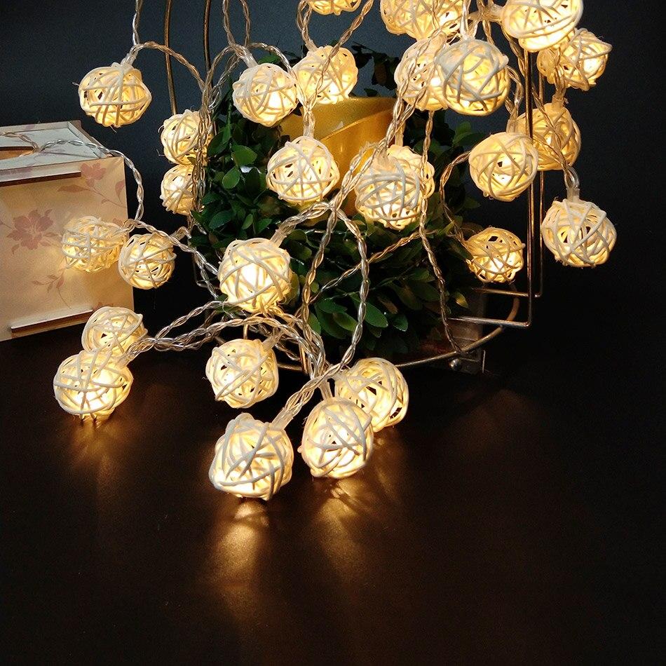 5 mètre 40 pcs main ranttan boule de corde de led par 3 pcs AA batterie, fée light party/de mariage/décoration De Noël