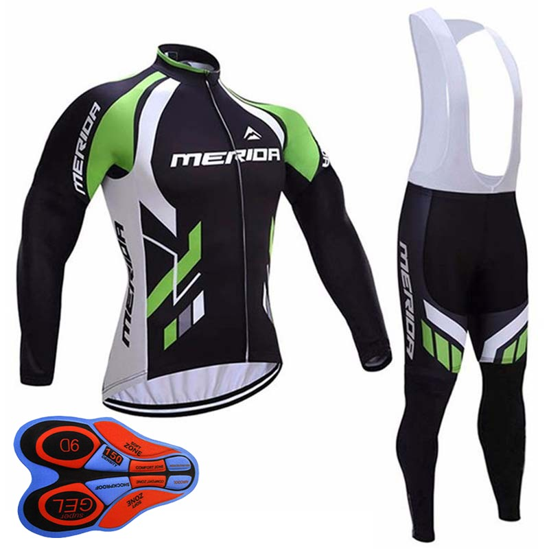 цена на 2018 MERIDA Cycling Jersey Cycling Shirt bib/ pants set Spring Summer Long Sleeves MTB Bike Clothing Men Outdoor Sportswear D192