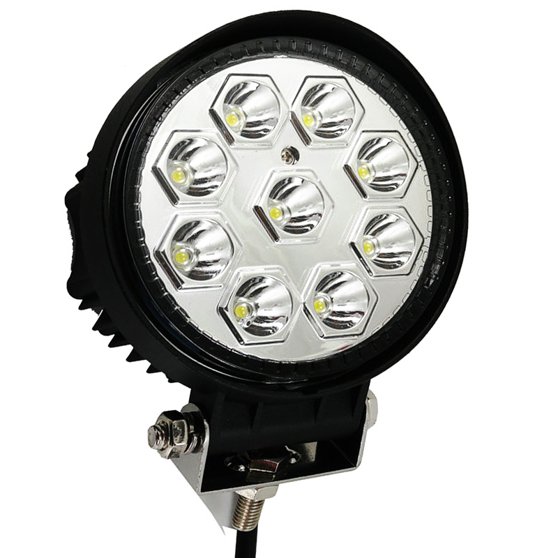 1pc 27W 4.6Inch Round Spot 9LED Working Light for SUV 4WD Offroad ATV Truck Trailer Boat Fog Driving Camp Lightbar Reflector Cup