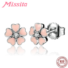купить MISSITA 100% 925 Sterling Silver Lovely Pink Flower Earrings For Women Silver Jewelry Brand Wedding Stud Earrings HOT Sale дешево