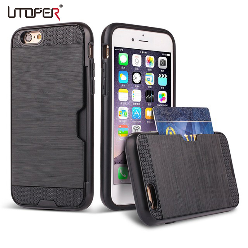 meet e884f 7d449 US $3.49 30% OFF|Hybrid Slim Credit Card Slot Case For iphone 5 5s SE 6 6s  7 Plus Wire Drawing Cover Card Phone Protective Bag-in Fitted Cases from ...