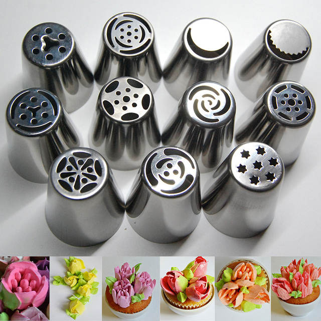 Decorator Tips aliexpress : buy 11pcs stainless steel russian tulip icing
