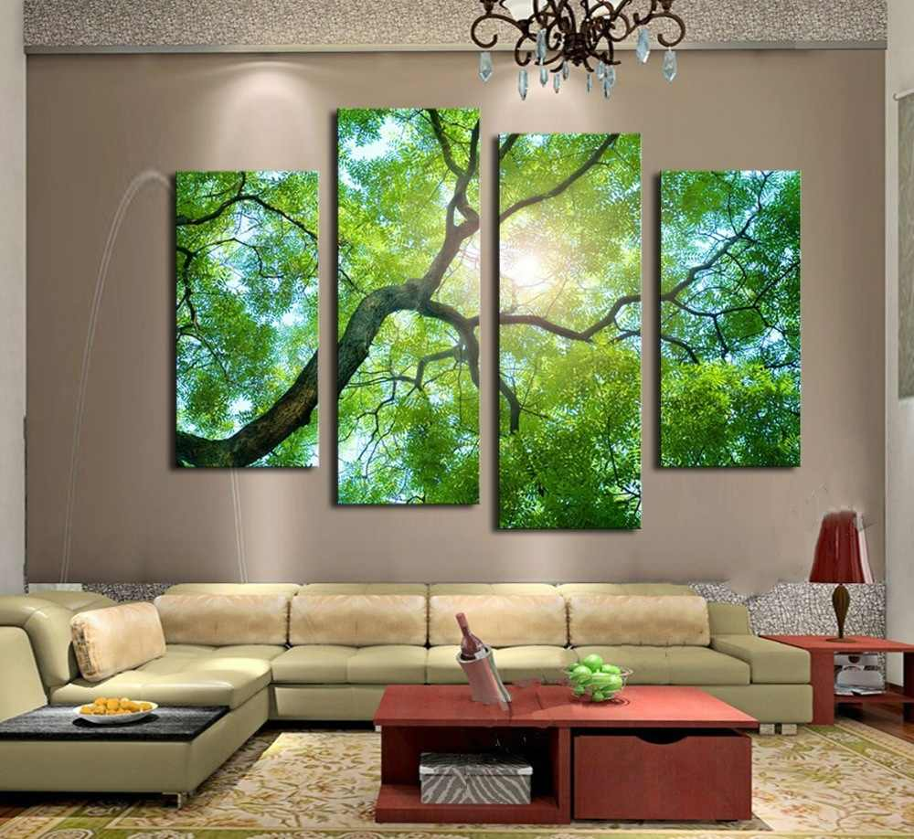 4 pieces Landscape Pictures Print On Canvas Abstract Guitar Wall Pictures For Living Room Wall Art Sun Green Tree Paintings