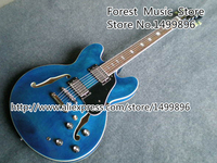 Wholesale Retail Musical Instrument Blue Top Custom Shop ES Electric Chinese OEM Guitar Body Kits Lefty