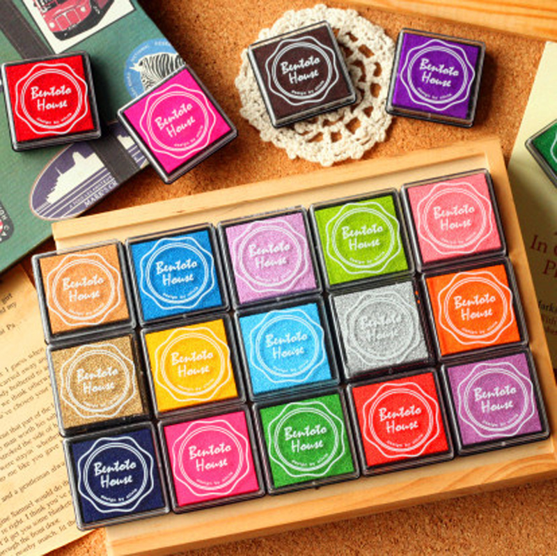 20 Colors Vintage Stamp Craft Colored Inkpad Stamp Seal Decoration Children DIY Scrapbooking Room Decor Stationery Set