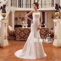 El envío libre 2015 nueva novia de la boda vestido de sirena Vestidos de Novia de encaje de moda vestido de boda blanco puro XXN006