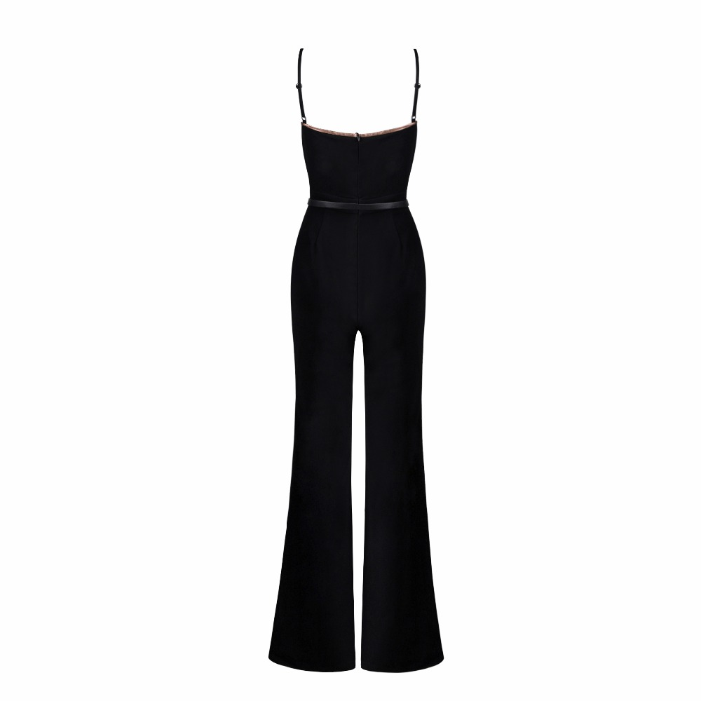 New Fashion Runway Jumpsuit Women Sexy V Neck Cotton Bodycon Jumpsuit 2018 Ladies Designer Boot Cut Jumpsuit with Cloak
