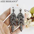 AZIZ BEKKAOUI multiple leaf shape earring black zircon dangle earrings for women long earring for party wedding dangle earrings