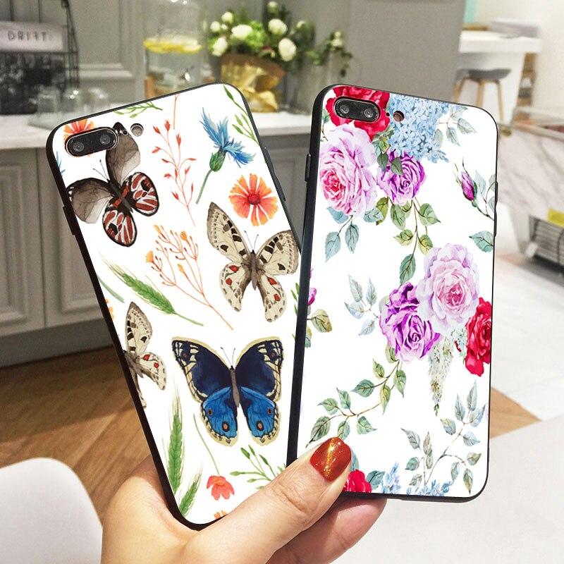 07b3107b77d Funda de teléfono móvil de silicona suave negra Flor Mariposa para iPhone X  5 S 5S XR XS Max 6 6 S 7 8 Plus Fundas tapa Coque
