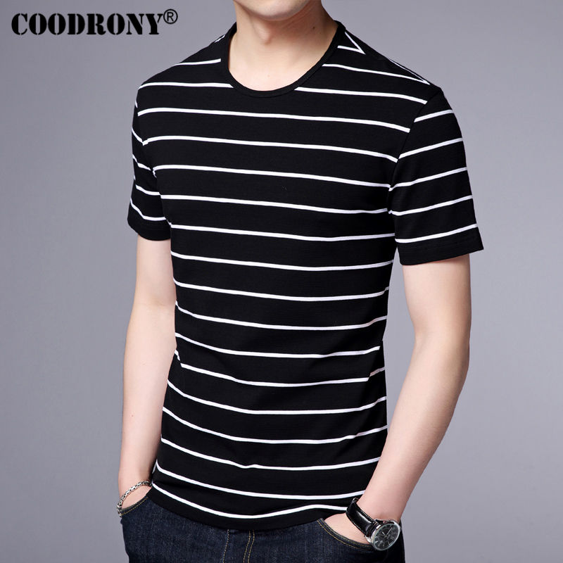 COODRONY Short Sleeve T-Shirts Men 100% Cotton Tee 2017 Summer New Arrival Fashion Striped T Shirt Men Slim Fit O-Neck Top S7627