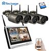 Techage 4CH 1080P Wireless NVR 12 LCD Monitor Screen 960P Wifi CCTV System 1 3MP Outdoor