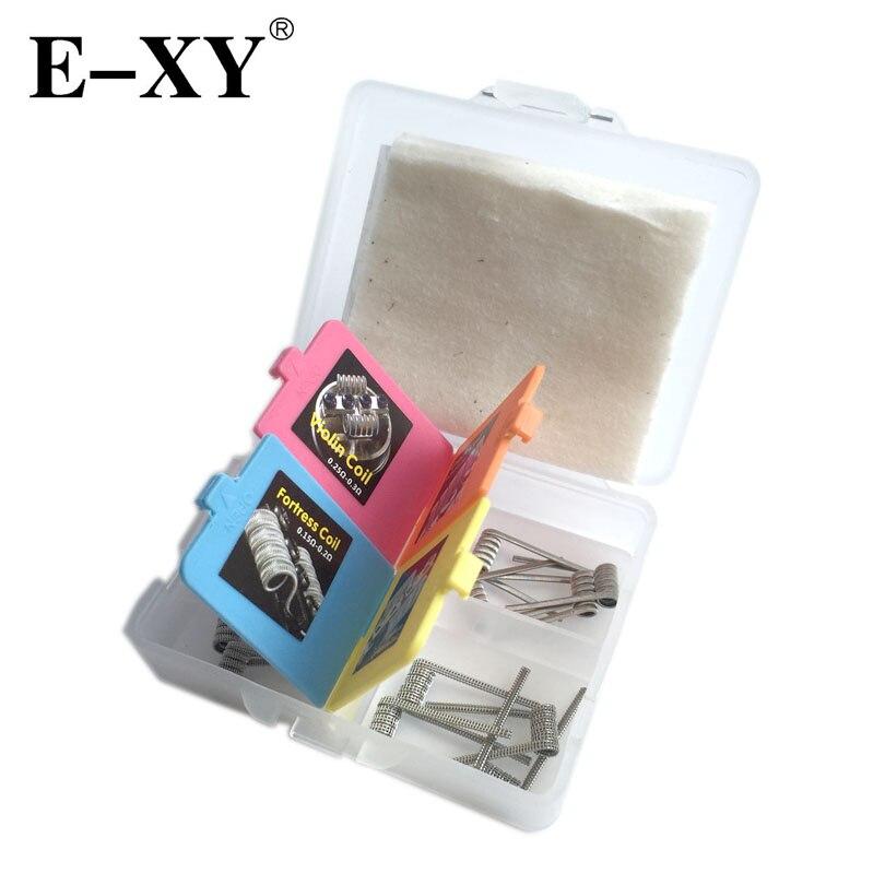 E-XY Electronic Cigarette 4 IN 1 Wire Prebuilt Coils Box kits Fortress Violin Centipede Crack Coil For Vape RDA RTA Atomizer