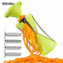 Фотография Hotsale GOUGU 4 Blades Hourglass Spiral Vegetable Slicer Grater Cucumber Carrot Noodle Spiralizer Cutter Salad Maker 1PC