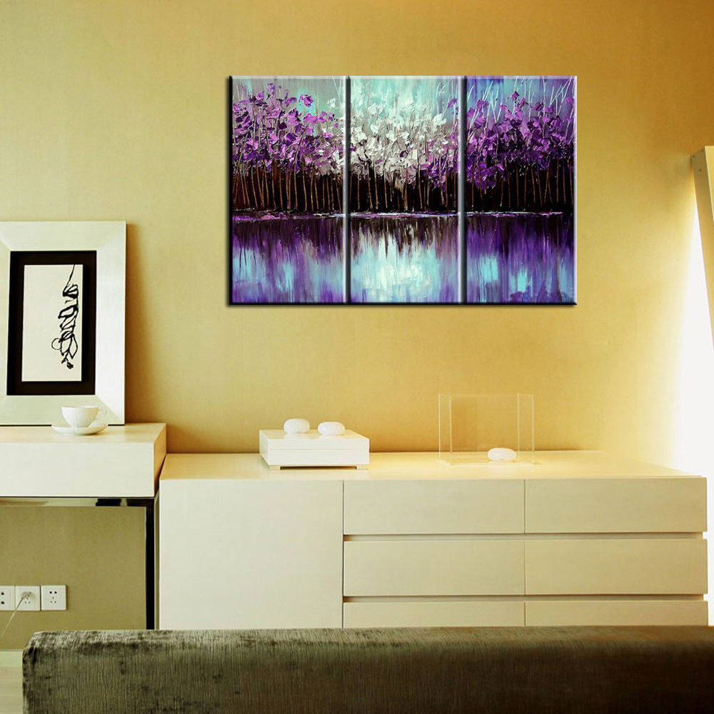 3 piece modern canvas wall art triptych Acrylic Purple Abstract tree ...