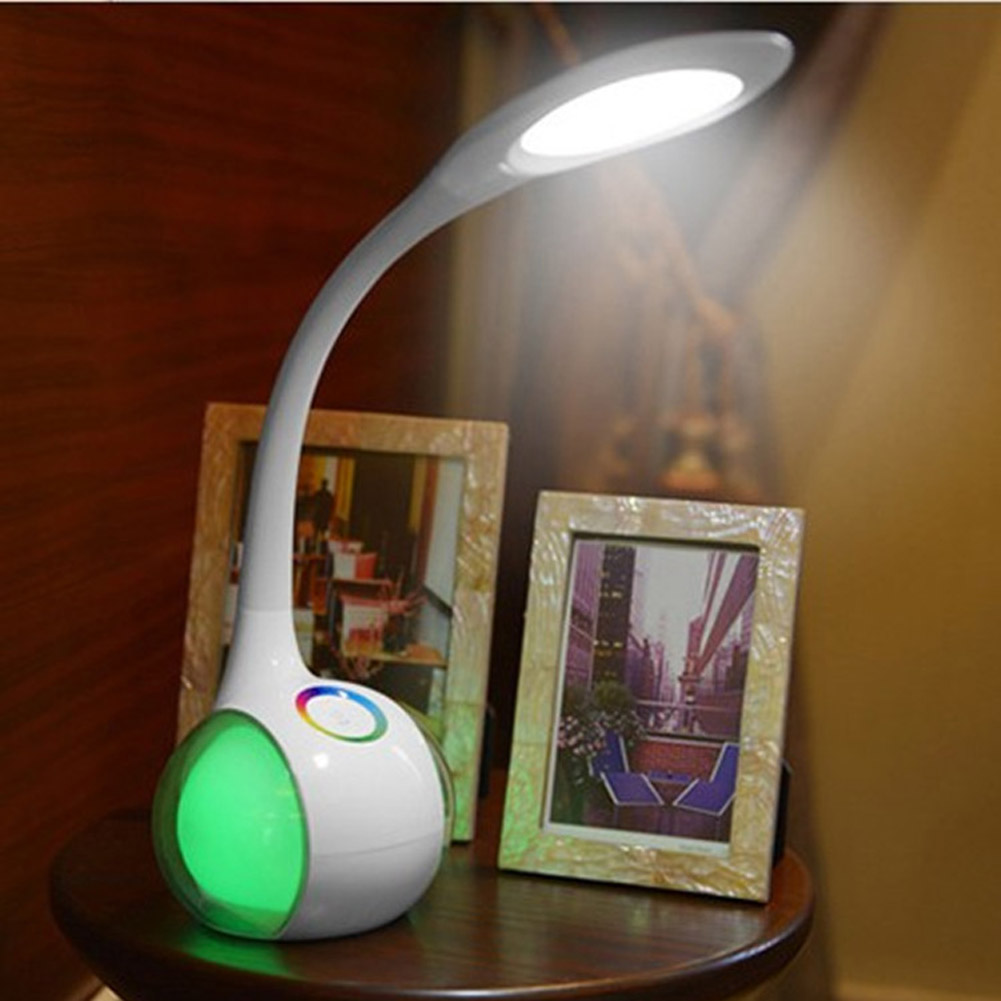 LED Color Changeable Dimmable 5W Goose Neck Table Desk Light Touch Atmosphere Reading Lamp For Children Bedroom Study Office 2015new 3 mode touch dimmable warm white 8 led desk lamp charging atmosphere night light for bar coffee house bronze coloured