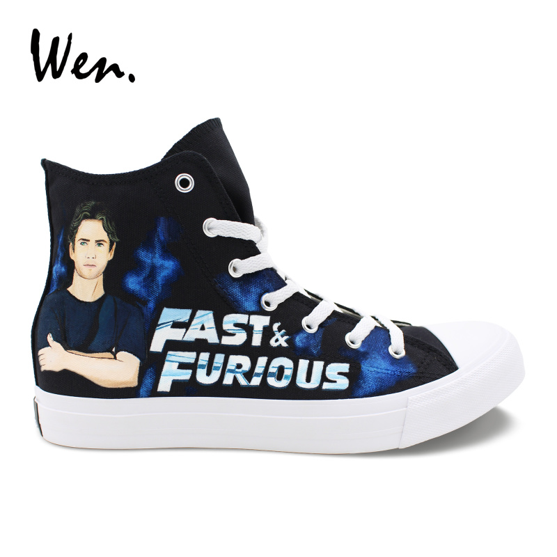 Wen Design Hand Painted Shoes Fast & Furious High Top Black Men Canvas Sneakers Women Casual Shoes for Birthday Gifts