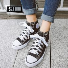 SJJH Women High-top Canvas Shoes Lovers Comfortable Sneakers Vulcanize Casual Chaussure Lace-up Ladies Trainers Footwear A1364(China)