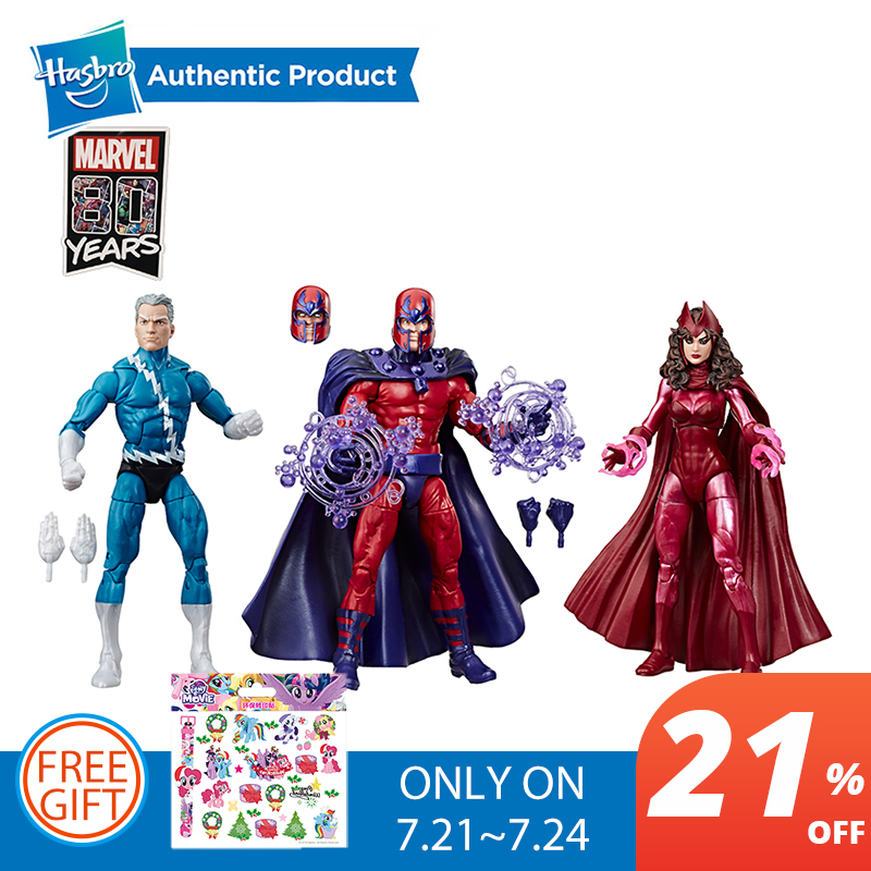 Collection de légendes Hasbro Marvel Exclusive 6 pouces affaires familiales 3 Pack avec figurines d'action magnéto Quicksilver et assistant écarlate