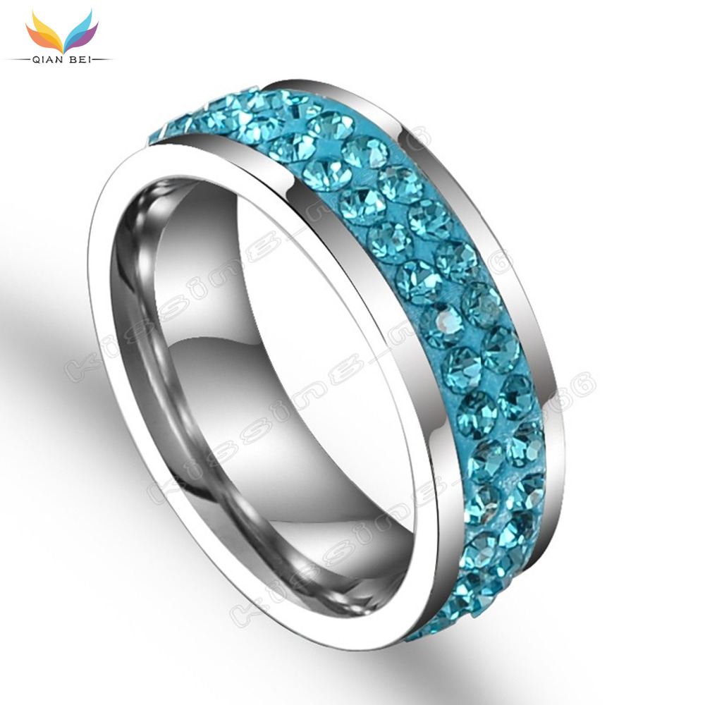 QianBei Two Rows Design Women Fashion Wedding Ring Silver Plated Ring Stainless Steel Rings For Women Crystal Engagement Jewelry
