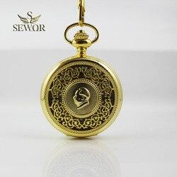 2019 SEWOR أفضل ماركة رائعة موضة الذهب ماو Zedong ماو رئيس الرمزية سطح عاكس اللون الميكانيكية ساعة جيب C222