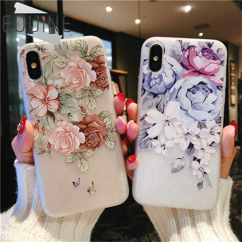 Tahan Lama Fashion Mewah 3D Relief Bunga untuk iPhone X Bening Rose Floral Case untuk iPhone 6 6S 7 Plus Soft Back Cover
