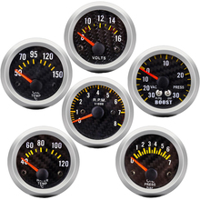 цена на Boost gauge bar psi/Vacuum/Water temp/Oil temp/Oil pressure/Voltmeter/Tachometer RPM Car Gauge + Gauges holder tacometro digital