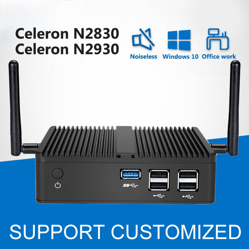 Intel Celeron N2830 Mini PC Windows 10 Linux Fanless Intel Mini Computer HTPC Android Media Player HDMI Office Desktop big promotion fanless mini pc intel celeron n2830 small desktop pc usb 3 0 lan wifi 2 hdmi nettop computer htpc windows 7