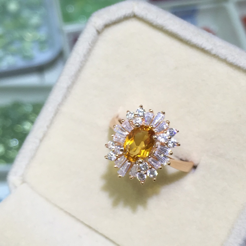 High Quality 100% Natural Citrine Rings For Women Real 925 Solid Sterling Silver Jewelry Wedding Ring