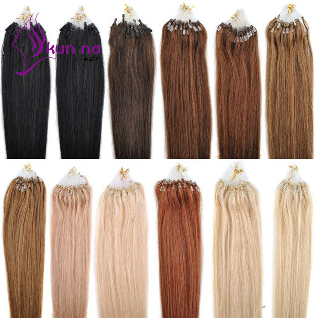 "0.5g/strand 100pcs Cheap Micro Loop Hair Extension Brazilian Remy Virgin Human Hair 16""18""20""22""24"" 40-60cm 12Color Quality Sale"
