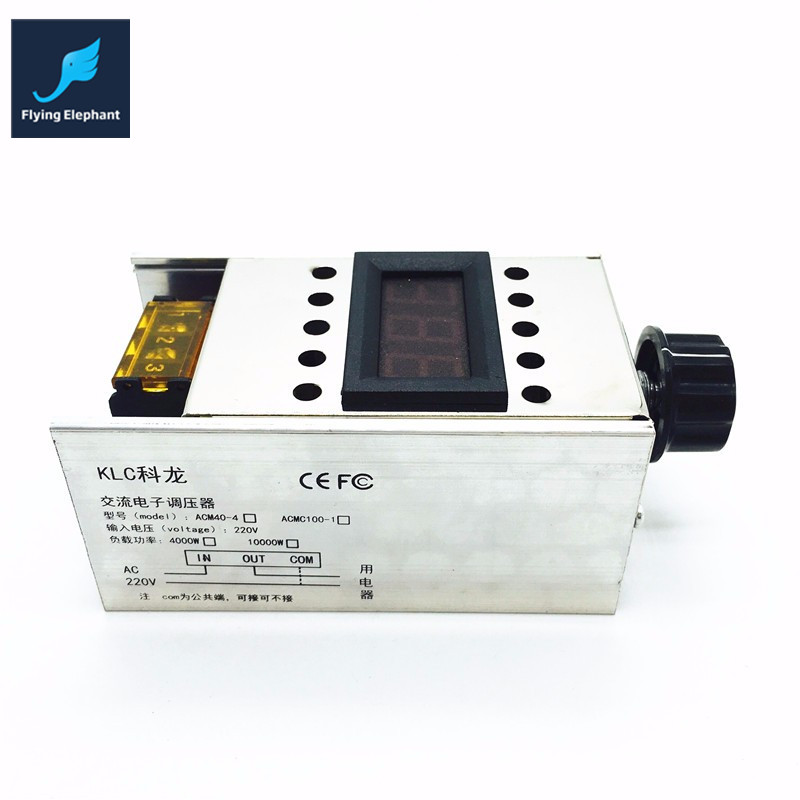 AC220V 4000W Dimmer High Power SCR BTA41-600B Electronic Voltage Regulator + Digital Display For Dimming Speed Thermostat