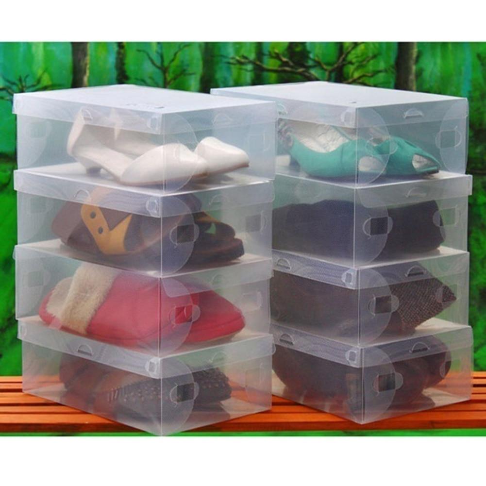 5pcs Clear Plastic Shoe Bo Shoes Storage Organizer Box Container Shoebox Fg