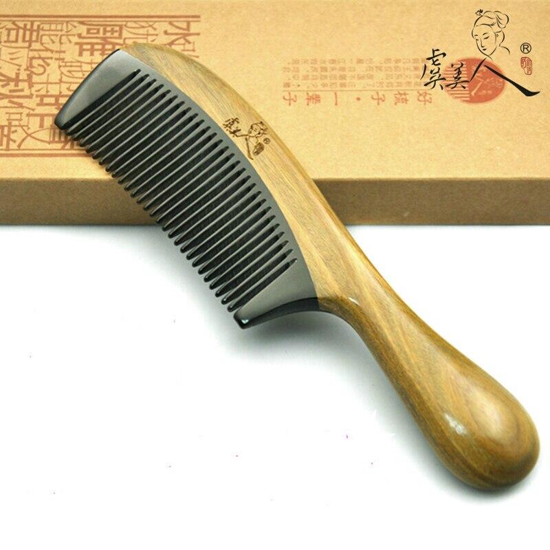 natural pente sandalo verde chifre de bufalo pente anti estatico anti perda de cabelo 18 2