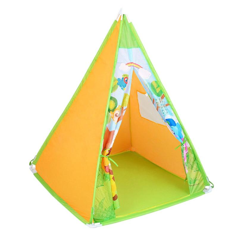 Hot Selling Four Poles Kids Trigonometric Tents Teepee Children Cartoon Play Tent Plastic Canvas Tipi for Baby Room Toy Ins black tree printed children teepee four poles kids play tent cotton canvas tipi for baby house ins hot foldable children s tent