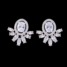 SisCathy Famous Brand Trendy Cubic Zirconia Stud Earrings For Women Luxury Jewelry Cute Crystal Party female Gifts