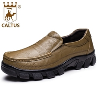 Caltus Business Formal Shoes Men Breathable New Fashion Genuine Leather Men Working Shoes Flats Oxfords AA20555