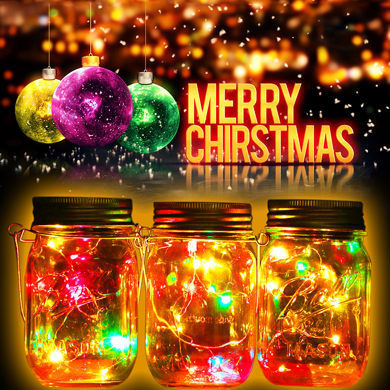 Solar Lid Light Wholesale Part - 18: 1pcs Christmas Gifts Party Garden Decoration Solar Mason Jar Lid Insert  Colorful White LED Light For