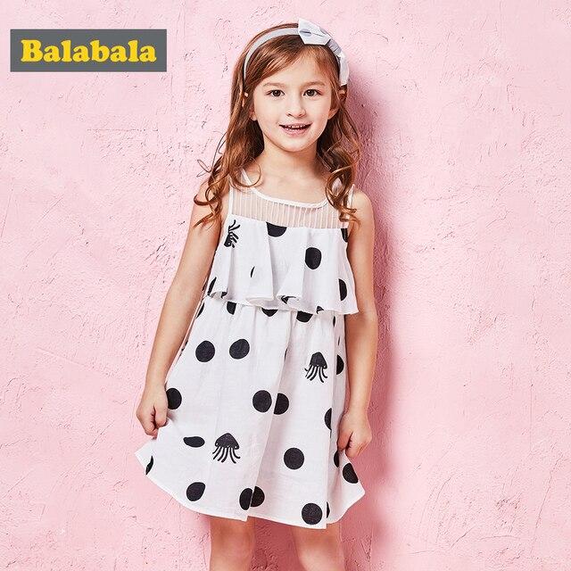 Balabala Toddler Girl Max-Fabric Sleeveless Dress with Flounce at Top Girls Polka Dot Dresses Cotton Lined Children Kids Dress