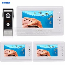 DIYSECUR 7 inch TFT Color LCD Display Video Door Phone Video Intercom Doorbell 700TVLine HD IR Night Vision Camera 1V3