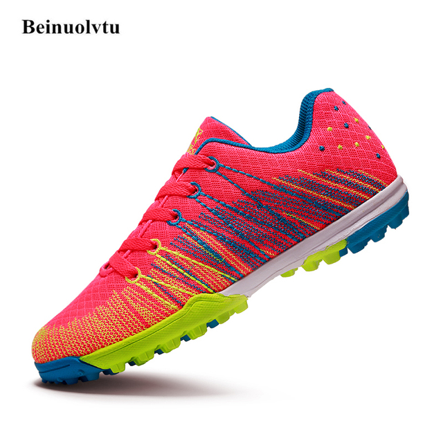bbd5719c2 New Stylish Flying Mesh Football shoes Soccer Sneakers Breathable Men  Football boots Boys Girls Indoor Cleats Soccer Boots Kids