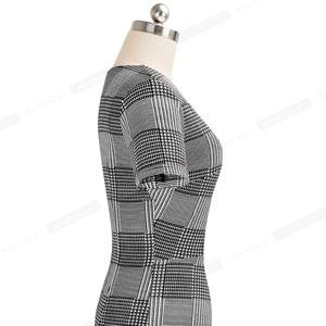 Image 3 - Nice Forever vestido ajustado elegante para mujer, estampado a cuadros, trabajo, fiesta, negocios, oficina, B537